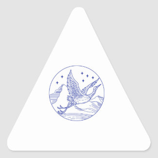 Great Blue Heron Flying Circle Mono Line Triangle Sticker