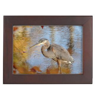 Great Blue Heron framed with fall foliage Keepsake Box