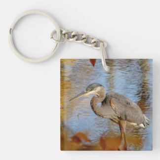 Great Blue Heron framed with fall foliage Keychain