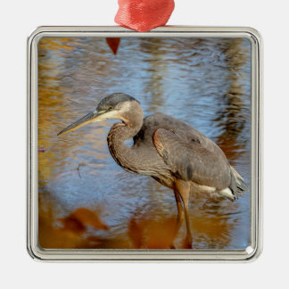 Great Blue Heron framed with fall foliage Metal Ornament
