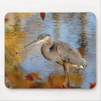 Great Blue Heron framed with fall foliage Mouse Pad
