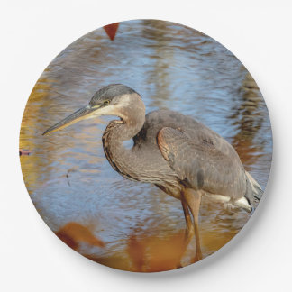 Great Blue Heron framed with fall foliage Paper Plate