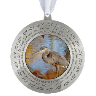 Great Blue Heron framed with fall foliage Pewter Ornament
