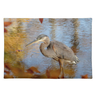 Great Blue Heron framed with fall foliage Placemat