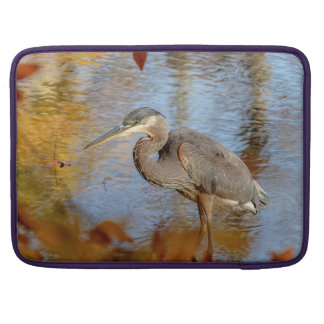 Great Blue Heron framed with fall foliage Sleeve For MacBooks