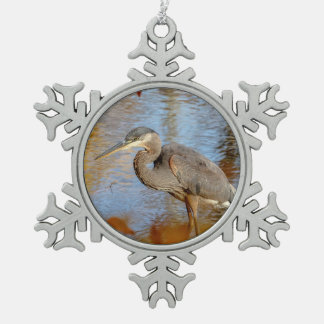 Great Blue Heron framed with fall foliage Snowflake Pewter Christmas Ornament