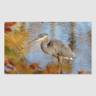 Great Blue Heron framed with fall foliage Sticker