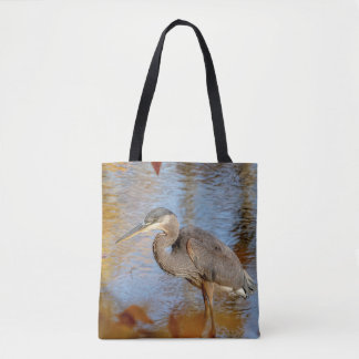 Great Blue Heron framed with fall foliage Tote Bag