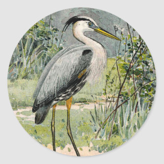 Great Blue Heron Illustration Classic Round Sticker