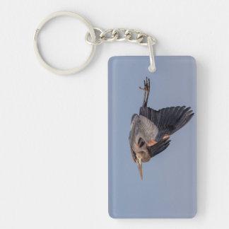 Great Blue Heron in flight Keychain