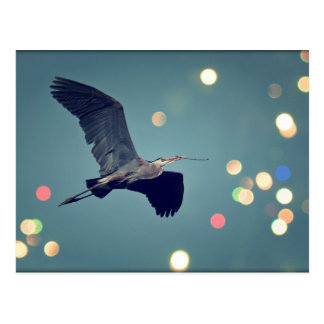 Great Blue Heron In Flight Postcard