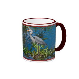 Great Blue Heron in Lake Ringer Mug