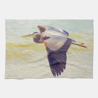 Great blue heron kitchen towel