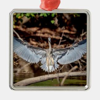 Great Blue Heron on a log Metal Ornament