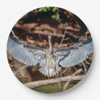 Great Blue Heron on a log Paper Plate