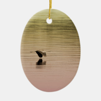 Great Blue Heron on Gradient Background Ceramic Ornament