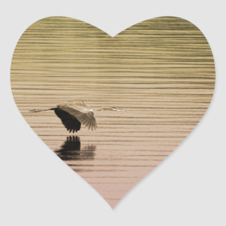 Great Blue Heron on Gradient Background Heart Sticker