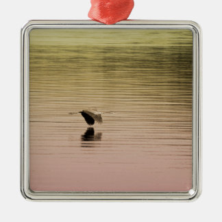 Great Blue Heron on Gradient Background Metal Ornament