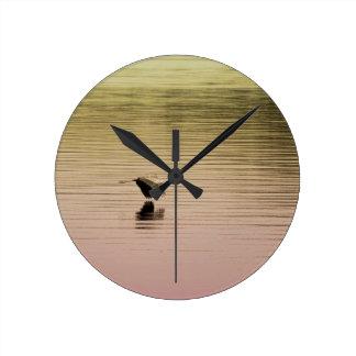 Great Blue Heron on Gradient Background Round Clock