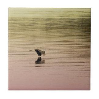 Great Blue Heron on Gradient Background Tiles