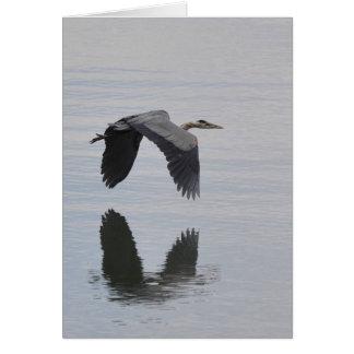 Great Blue Heron Reflected -Frameable Art Card