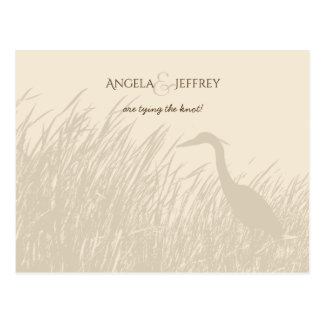 Great Blue Heron rustic wedding save the date Postcard