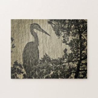 Great Blue Heron Sepia Tone Photographic Art Puzzle