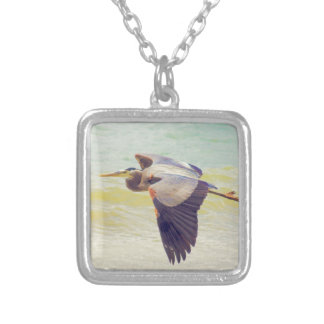 Great blue heron silver plated necklace