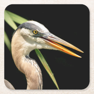 Great Blue Heron Square Paper Coaster