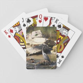 Great Blue Heron standing in creek photo Poker Deck
