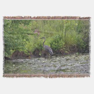 Great blue heron throw blanket