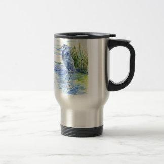 Great Blue Heron Wades in the Marsh Travel Mug