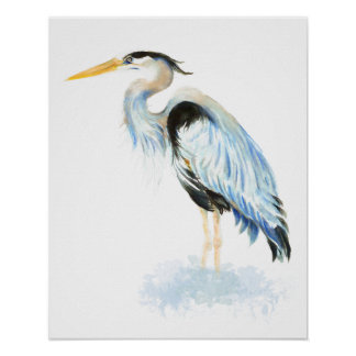 Great Blue Heron Watercolor Bird Art Poster