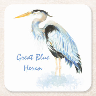 Great Blue Heron Watercolor Bird Art Square Paper Coaster