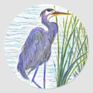Great Blue Heron - Watercolor Pencil Classic Round Sticker