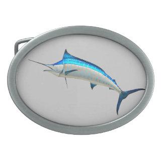 Great Blue Marlin Oval Belt Buckle