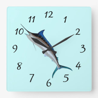 Great Blue Marlin Square Wall Clock