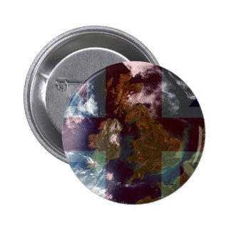 Great Bretain from Space and Flag. 2 Inch Round Button