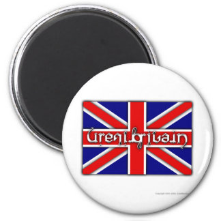 'Great Britain' ambigram on a British flag Magnet