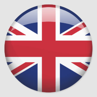 Great Britain Flag in Glass (pack) Classic Round Sticker