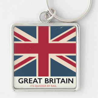 "Great Britain ""Its quicker by rail"" vintage poster Keychain"