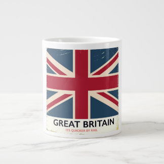 """Great Britain """"Its quicker by rail"""" vintage poster Large Coffee Mug"""