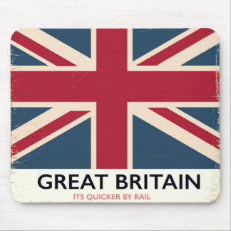"""Great Britain """"Its quicker by rail"""" vintage poster Mouse Pad"""