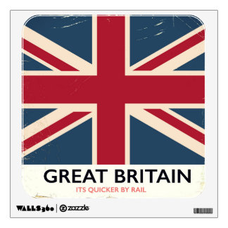 "Great Britain ""Its quicker by rail"" vintage poster Wall Sticker"