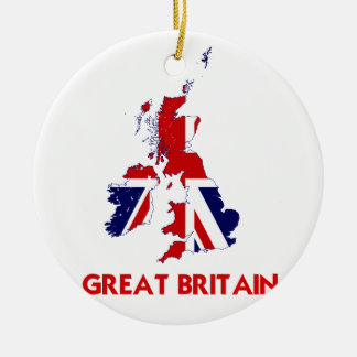GREAT BRITAIN MAP CERAMIC ORNAMENT