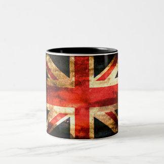 Great britain red white blue flag Two-Tone coffee mug