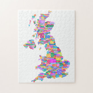 Great Britain UK City Text Map Jigsaw Puzzle