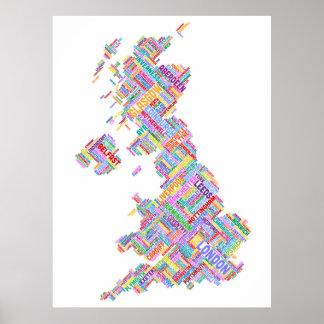 Great Britain UK City Text Map Print