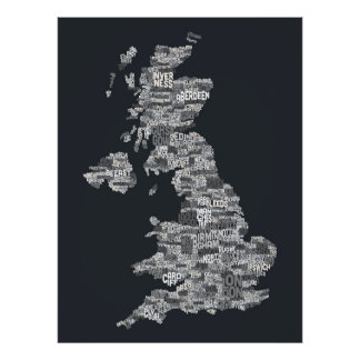 Great Britain UK City Text Map Poster