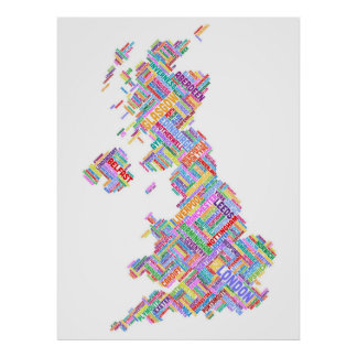 Great Britain UK City Text Map Posters